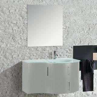 00003015 Mobile Arredo Bagno Kursal 104 cm Sospeso Bianco Destro Moderno