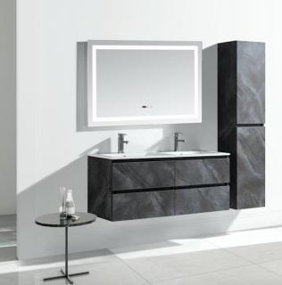 00004667 Set Mobile Arredo Bagno Roma Stone con Doppio Lavabo Color Grigio Antracite 120 cm